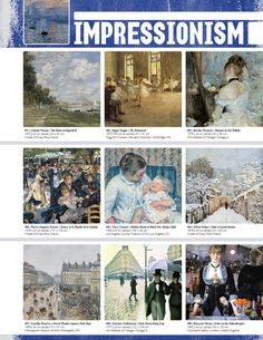 Resource: IMPRESSIONISM (Movement Binder Notes) nice full sheet with a few paintings. good to compare with other movements and have students determine guiding characteristics