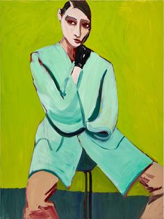 'Woman in a Blue Coat on Green' Chantal Joffe. Courtesy the artist and Victoria Miro, London © Chantal Joffe Art Gallery, Painting People, Artist Gallery, Female Art, Art, Portrait Painting, Famous Art, Chantal Joffe, Portrait Art