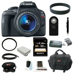 Canon EOS Rebel SL1 18MP Digital SLR with 18-55mm EF-S IS STM Lens and 3-inch Touch Screen plus 32GB Deluxe Accessory Bundle ** Click image to review more details. (This is an Amazon Affiliate link and I receive a commission for the sales)