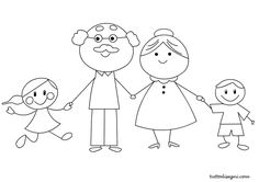 Nonni e nipoti da colorare - TuttoDisegni.com Art Drawings For Kids, Drawing For Kids, Easy Drawings, Craft Activities For Kids, Preschool Crafts, Crafts For Kids, Magic For Kids, Art For Kids, Grandparents Day Crafts