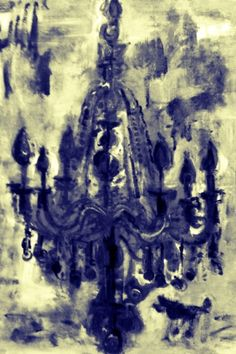 black and white photo of chandelier painting