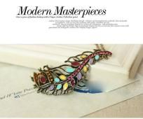 Retro Vintage Bronze Multi Color Crystal Peacock Feather Necklace**I PAY THE SLICE** & Free Shipping