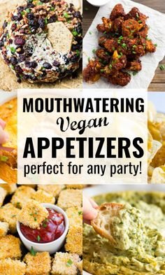 12 Vegan Appetizers – Perfect for any party! 12 Mouthwatering Vegan Appetizers, perfect for any party! You will surely impress people with these amazing dishes, and they are all easy to make! Healthy Appetizers, Appetizers For Party, Appetizer Recipes, Delicious Appetizers, Quick Recipes, Whole Food Recipes, Vegan Recipes, Vegan Party Food, Vegan Snacks