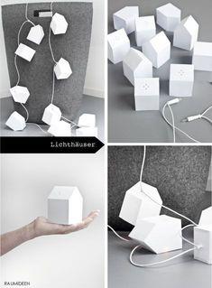 Häuser zum falten aus Papier als Lampions für eine Lichterkette. Im MINIMALmagazin findest du die Druckvorlage und die Anleitung zum Nachbasteln!