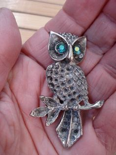 1960s Pewter Owl on Branch with Rhinestone Eyes Pin Brooch 2012702.