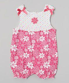 Pink Tropic Flower Bow Romper - Infant