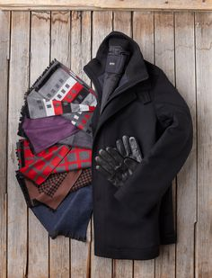 Hugo BOSS Black Jacket - $698  Various scarves - $98 to $198  Thinsulate Sensor Touch Leather Gloves - $135