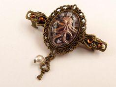 Kleine Steampunk Haarspange mit Krake in braun bronze