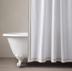 Parallel Border Turkish Cotton Shower Curtain