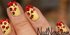 Yellow and red lepard nails