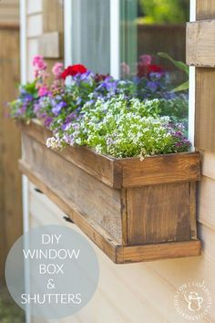 Looking to dress up a plain exterior window? It doesnt get any cheaper, easier, or more flexible than this plan for a DIY Window Box and Shutters!