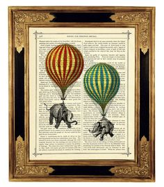 Elephants hanging from hot-air balloons - Vintage Victorian Book Page Art Print Steampunk