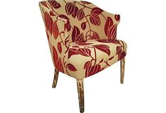 1930s French Art Deco chair - Intentionally distressed original paint. Country of Origin: France  Materials: wood/linen-cotton blend  Dimensions: 26″L × 24″W × 30.5″H  Color/Finish: red/cream