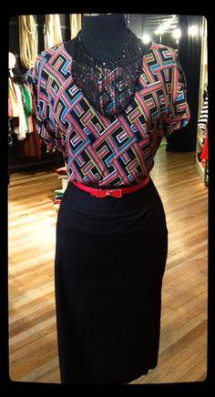 Get the look! Lulamae maze blouse $69. Black pencil skirt $89.   www.facebook.com/lulamaeboutique