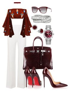 """""""Untitled #489"""" by scannedbyaaron ❤ liked on Polyvore featuring Roland Mouret, Hermès, Christian Louboutin, Mochi, Rolex, Joomi Lim, Burberry and Cartier"""