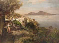 View over the bay of Naples von Oswald Achenbach