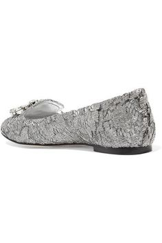 Dolce & Gabbana - Embellished Lace-covered Mesh Ballet Flats - Silver - IT36.5