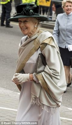 The Queen's cousin, Princess Alexandra, was all smiles as she arrived at the reception 19 Apr 2015