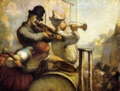 Parade Acrobats by Honore Daumier. Realism. genre painting