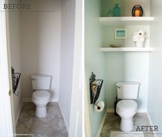 Don't squander the space hidden in your toilet's lonely nook. Easily installed floating shelves create a sleeker spot for bath essentials than a rickety standing rack. Get the tutorial at Oh Everything Handmade »  - GoodHousekeeping.com
