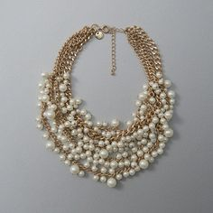 Abercrombie & Fitch Faux Pearl Cluster Statement Necklace ($58) ❤ liked on Polyvore featuring jewelry, necklaces, gold, layered necklace, polish jewelry, artificial jewelry, bib statement necklace and imitation jewellery