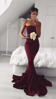 burgundy long prom dress bridesmaid dress, 2017 long prom dress, mermaid long burgundy prom dress, formal evening dress