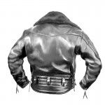 The back of a standard Columbia jacket with belt loops and a faux fur collar - #Langlitz Leathers.