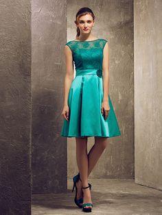 Knee-length Satin / Lace Bridesmaid Dress - Jade Plus Sizes / Petite A-line / Princess Bateau - USD $79.99
