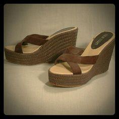 Colin Stuart wedges brown 5 inch heel, 2 inch platform. Lightly worn. Colin Stuart Shoes Wedges
