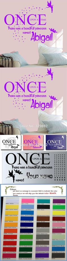 """""""Once upon a time"""" with tinkerbell personalised Name Wall Sticker kids Bedroom Decal Mural Quote wall Art tx-172"""