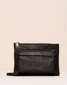 Pull&Bear - woman - bags and backpacks - faux leather clutch - black - 09821330-I2015