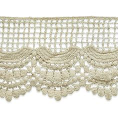 """3 1/2"""" Janice Cotton Lace Trim Natural from @fabricdotcom  This cotton lace trim measures 3.5'' in width and can add a delicate accent to anything! Embellish garments, pillows and home décor or craft projects with this lace trim."""