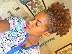 Natural Hair High Puff With French Braid [Video] - http://community.blackhairinformation.com/video-gallery/natural-hair-videos/natural-hair-high-puff-french-braid-video/