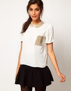 #cute #top with sequined #pocket and peter pan collar!
