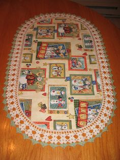 "Aunt Roo's Snow ""Angels"" Snowmen fabric table runner w/ crocheted edging..."