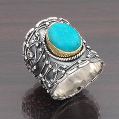 925 SOLID STERLING SILVER SIMPLE PLAIN TURQUOISE RING JEWELRY 10.01g DJR4669 #Handmade #Ring