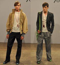 The dude on the right, the dude on the right! lcf aleksandra domaevskaya graduate show menswear. London College Of Fashion, Career, Bomber Jacket, Jackets, Fashion Design, Collection, Down Jackets, Carrera, Bomber Jackets