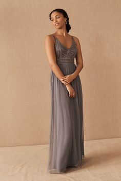 A densely beaded bodice and floaty skirt strike the perfect balance on this strappy maxi dress.Only available at BHLDN Blue Bridesmaid Dresses Short, Grey Bridesmaids, Bridesmaid Gowns, Unique Dresses, Simple Dresses, Strappy Maxi Dress, Convertible Dress, Bhldn, Gray Dress