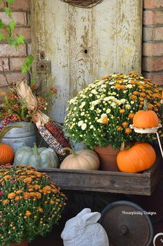 A Fall Mantel of Blue and White and Charles Dickens Fall Wagon Decor, Fall Home Decor, Autumn Home, Fall Mums, Autumn Display, Fall Displays, Autumn Decorating, Porch Decorating, Primitive Fall