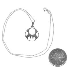 Sterling Silver Mario 1-Up Mushroom Necklace Video Game Fan Art Jewelry