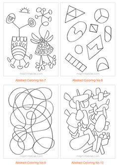 Finish the Symmetrical Drawing Printouts, 4 Pictures