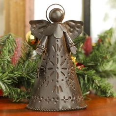 Rusty Tin Angel Tree Topper - Christmas Trees and Toppers ...