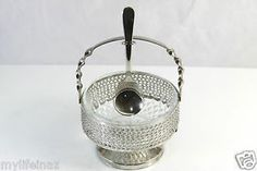 ARCOROC FRANCE Clear Crystal Bowl in Metal Serving Nest Silver-Plate Spoon