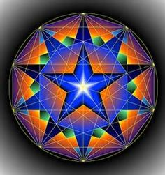 This is an example of geometry in art because it is a figure inside of a circle with a hexagon inside with a star inside.