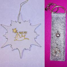 Christbaumschmuck aus Modelliermasse und Schlüsselanhänger aus Filz Office Supplies, Modelling Clay, Christmas Tree Decorations, Felting