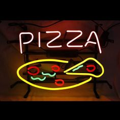 "17""X14"" PIZZA CUSTOM REAL GLASS NEON LIGTH BEER BAR PUB RESTAURANT DISPLAY SIGN"