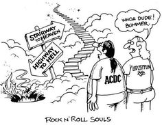 This image is showing Led Zepplin and ACDC deciding the direction they will go. Both are well known rock and roll. While one has a song with about heaven, the other is about hell. I chose this image because pop culture is all about music. Messages in songs through rock are popular. Our culture listens to rock and roll more than songs about God at church.