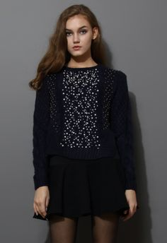 Beads Embellished Knitted Sweater in Navy - Retro, Indie and Unique Fashion
