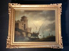 Hafen Marseille. Antikes Ölgemälde etikettiert Claude Joseph Vernet (*1714-1789)