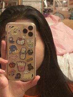 get a bunch of stickers and arrange them how you would like, cut small pieces of double sided tape and put them on the front side of the sticker, place on the phone case Cute Cases, Cute Phone Cases, Iphone Cases, Aesthetic Phone Case, Indie Kids, Aesthetic Stickers, Diy Phone Case, Coque Iphone, Samsung